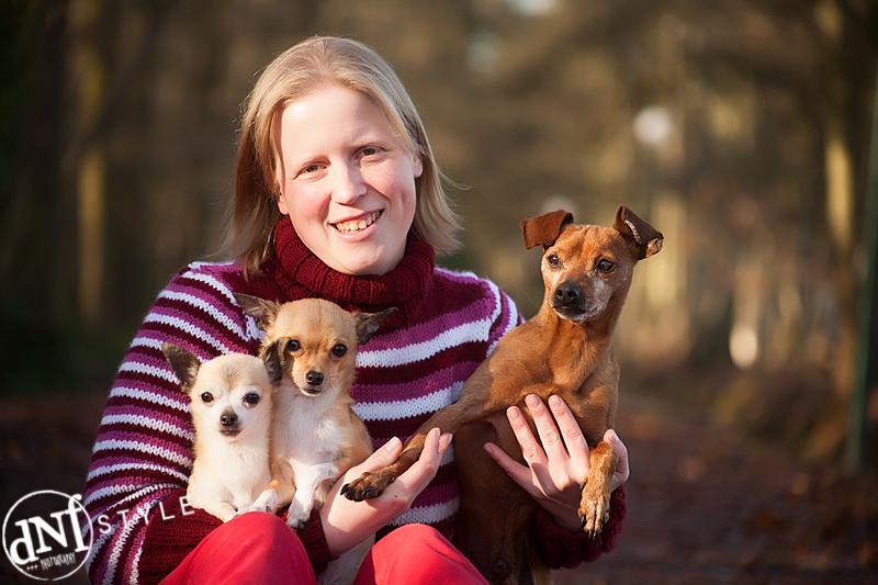 Sandra met haar 3 honden op de eerste shoot
