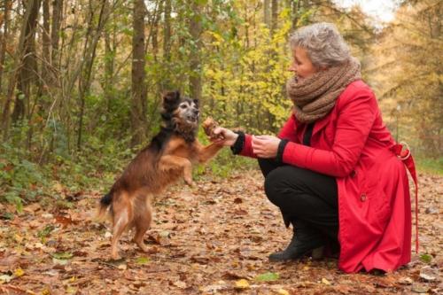 buitenshoot van vrouw met hond